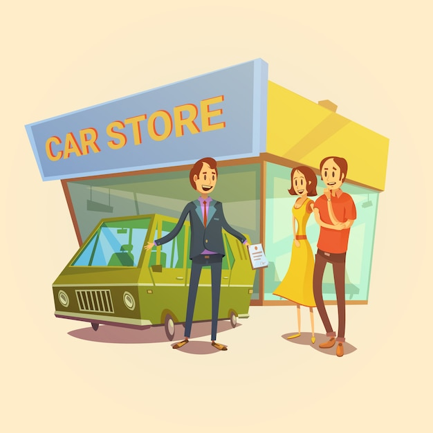 Concesionario de automóviles y clientes concepto de dibujos animados con la tienda de coches edificio ilustración vectorial vector gratuito