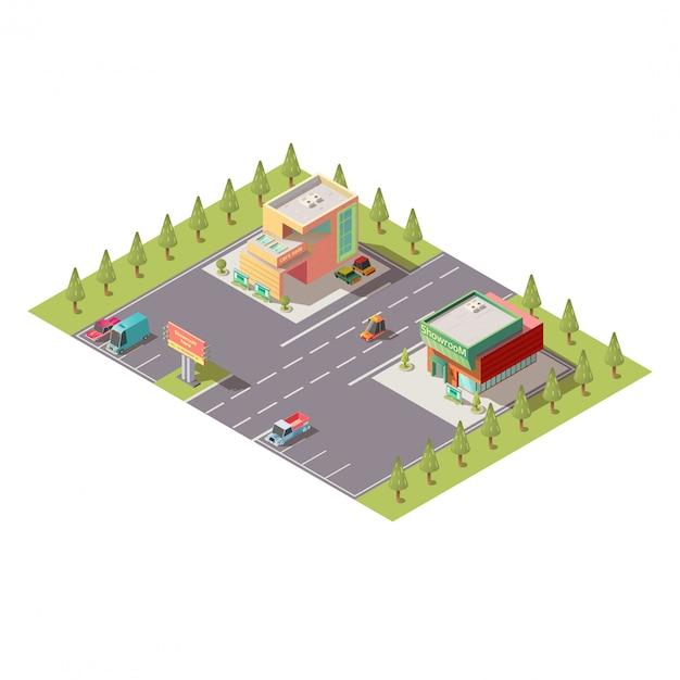 Concesionario de automóviles showroom edificios vector isomérico vector gratuito