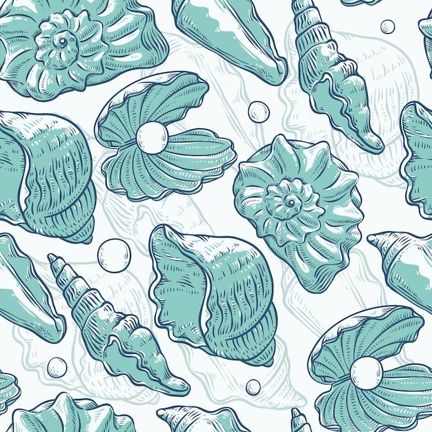 Conchas de mar de patrones sin fisuras y perlas de diferentes formas. ilustración de esbozo de contorno turquesa monocromo de conchas de almeja sobre tema marino. Vector Premium
