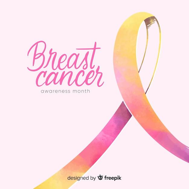 Conciencia de cáncer de mama acuarela con cinta vector gratuito