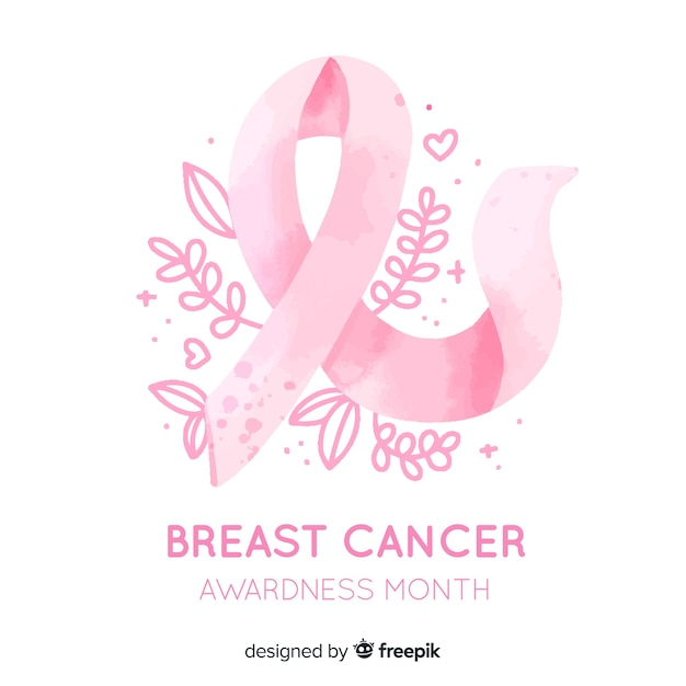 Conciencia del cáncer de mama con acuarela de cinta vector gratuito
