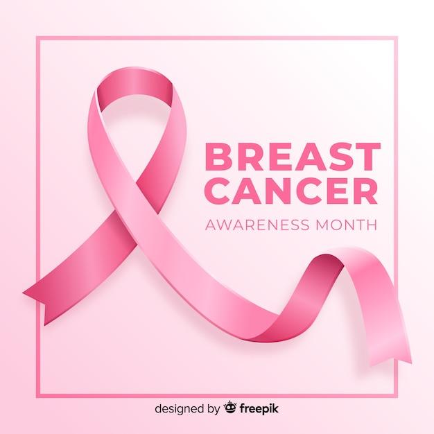 Conciencia del cáncer de mama con cinta rosa realista vector gratuito