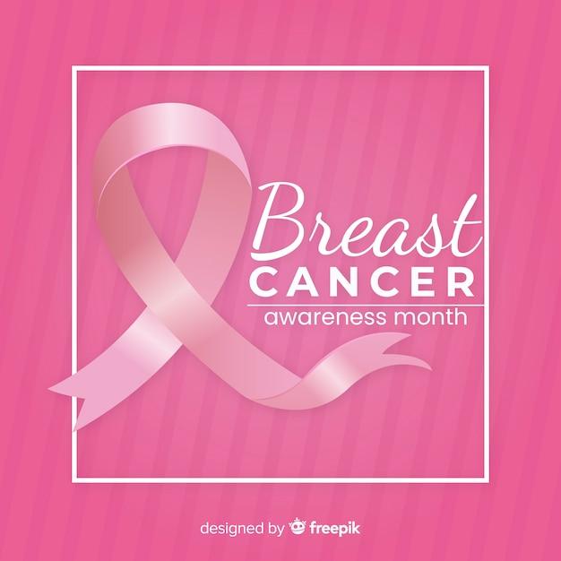 Conciencia del cáncer de mama con cinta rosa vector gratuito