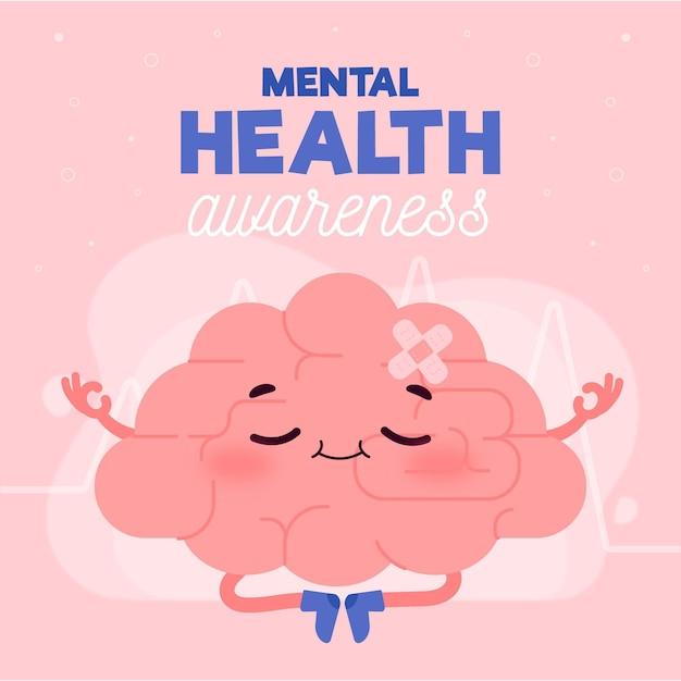 Conciencia de salud mental y concepto de meditación vector gratuito