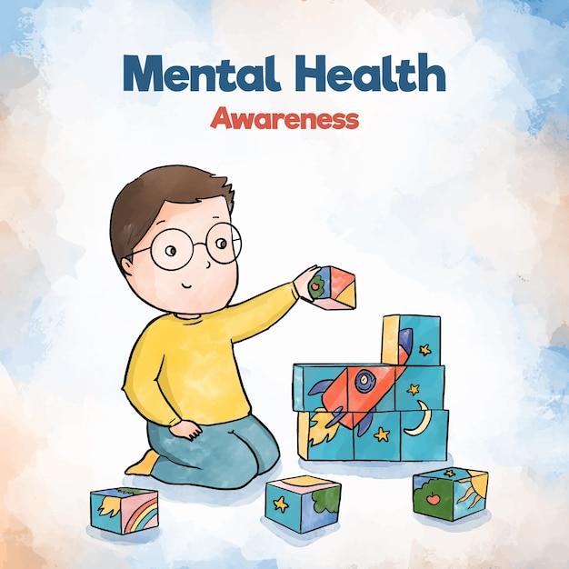 Conciencia de salud mental niño niño edificio con juguetes vector gratuito