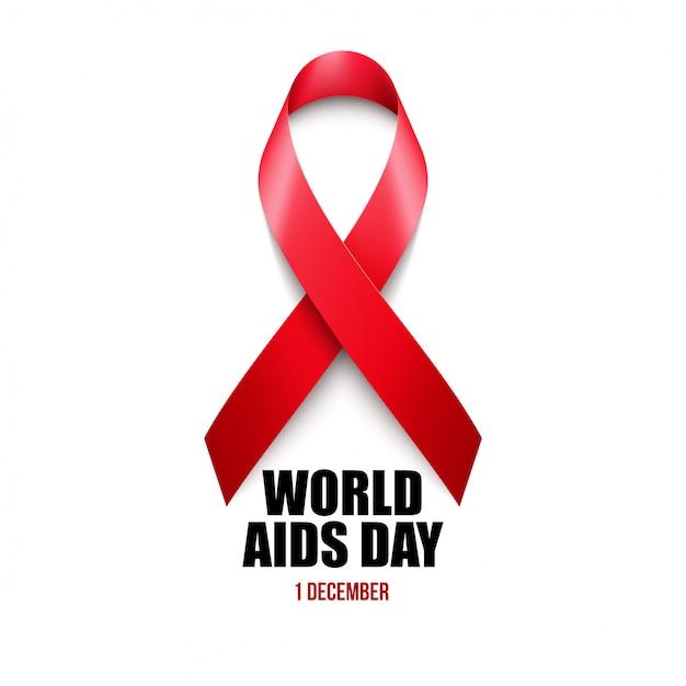 Conciencia del sida. concepto del día mundial del sida. Vector Premium