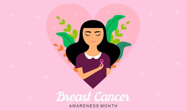 Concientización sobre el cáncer de mama con logotipo de cinta e ilustración Vector Premium