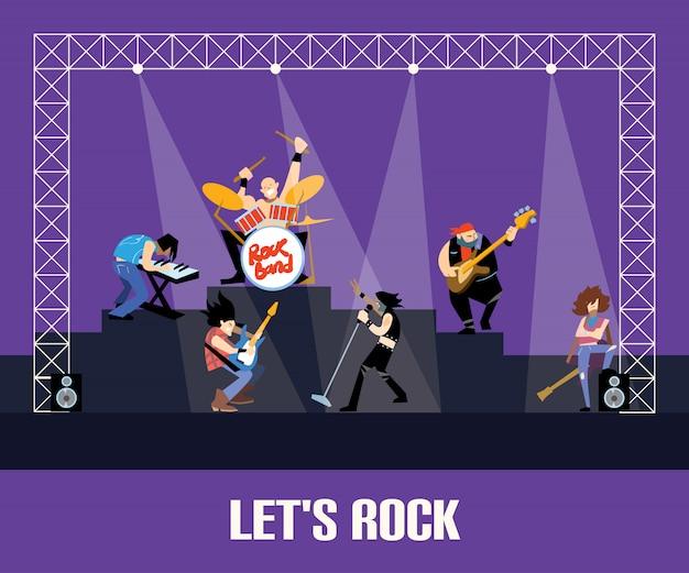 Concierto de banda de rock Vector Premium