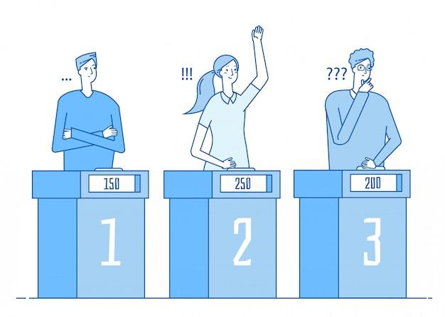 Concurso de televisión. programa de televisión de juegos de trivia de personas inteligentes con signo de interrogación respuesta niña ganadora. concepto lineal de prueba Vector Premium