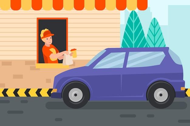 Conducir a través de la ilustración de la ventana con coche y trabajador vector gratuito