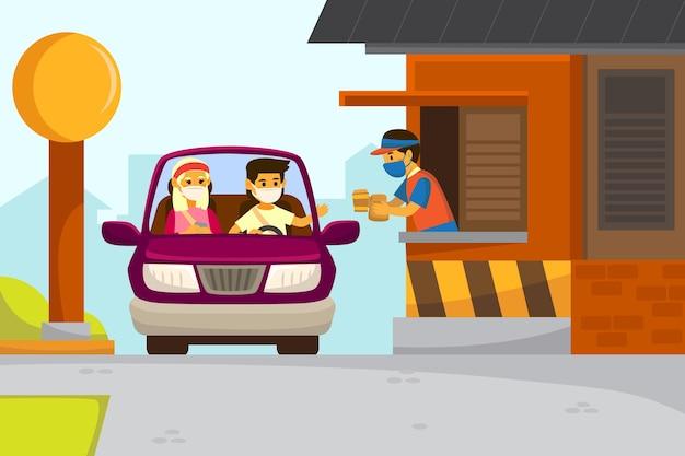 Conducir a través de la ilustración de la ventana vector gratuito
