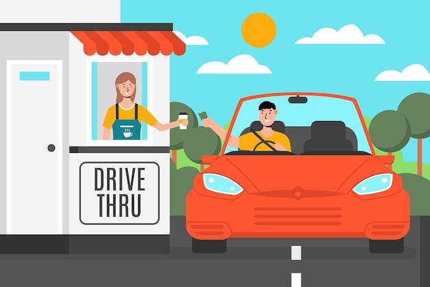 Conducir a través de la ventana con el coche vector gratuito