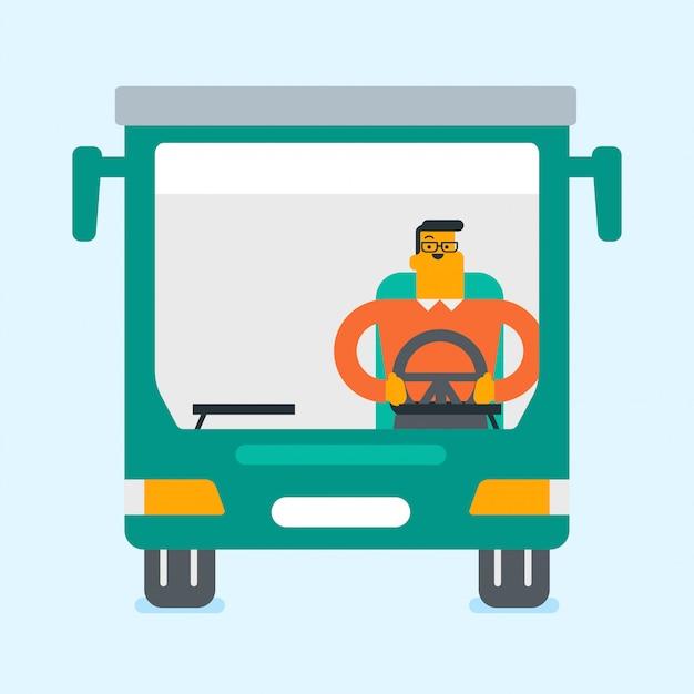 Conductor de autobús caucásico sentado en el volante. Vector Premium