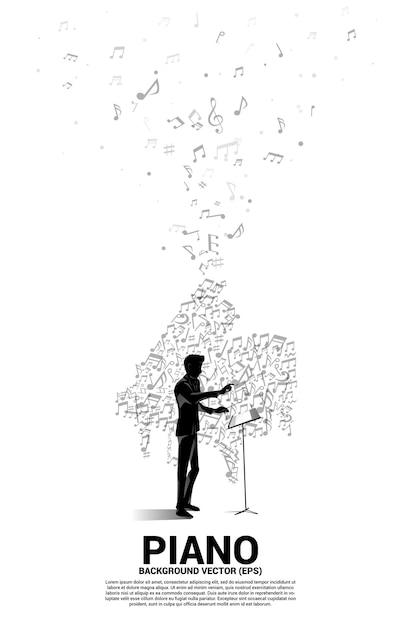 Conductor y melodía musical nota bailando icono de piano de forma de flujo. antecedentes del concepto de tema de canción y concierto. Vector Premium