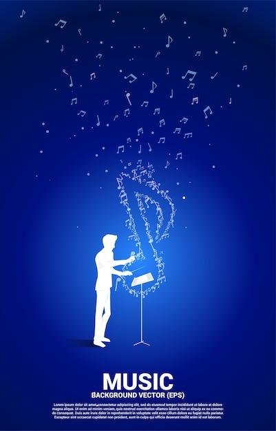 Conductor y melodía musical nota flujo de baile. antecedentes del concepto de tema de canción y concierto. Vector Premium
