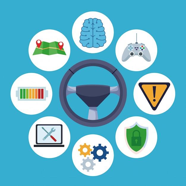 Conectividad a internet del coche. vector gratuito