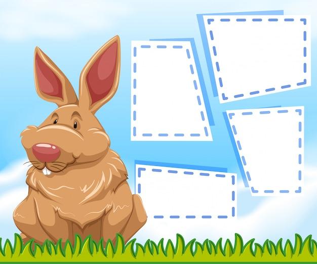 Un conejito en plantilla de nota vector gratuito
