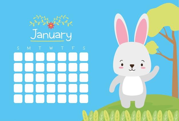 Conejo con calendario, animales lindos, plano y estilo de dibujos animados, ilustración vector gratuito