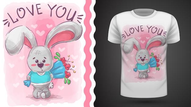 Conejo con flor - idea para camiseta estampada Vector Premium