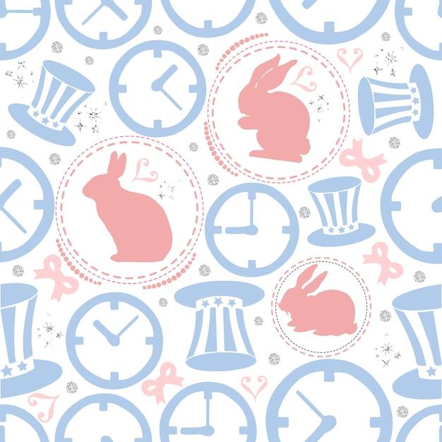 Conejo inconsútil con glitter de punto de plata, reloj y fondo del ...