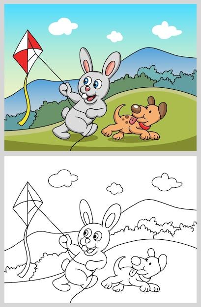 Conejo jugando una cometa con personaje de dibujos animados perro ...