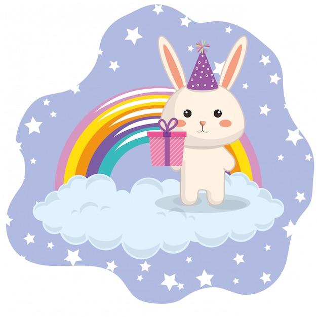 Conejo lindo con tarjeta de cumpleaños del arco iris kawaii vector gratuito