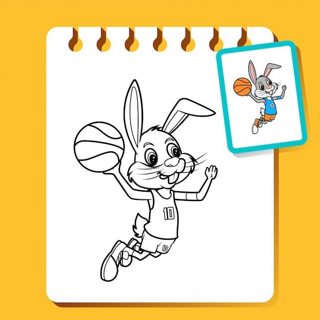 Conejo slam dunk, ilustración de arte de línea de baloncesto para ...
