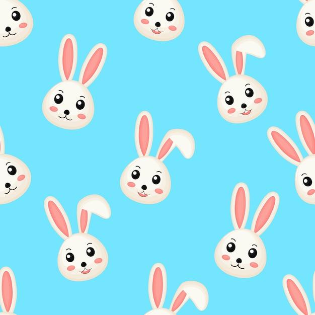 Conejos lindos lindos de patrones sin fisuras. Vector Premium