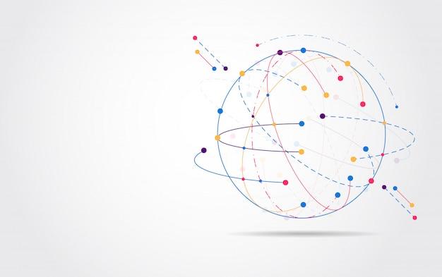 Conexión de red global. punto del mapa mundial Vector Premium