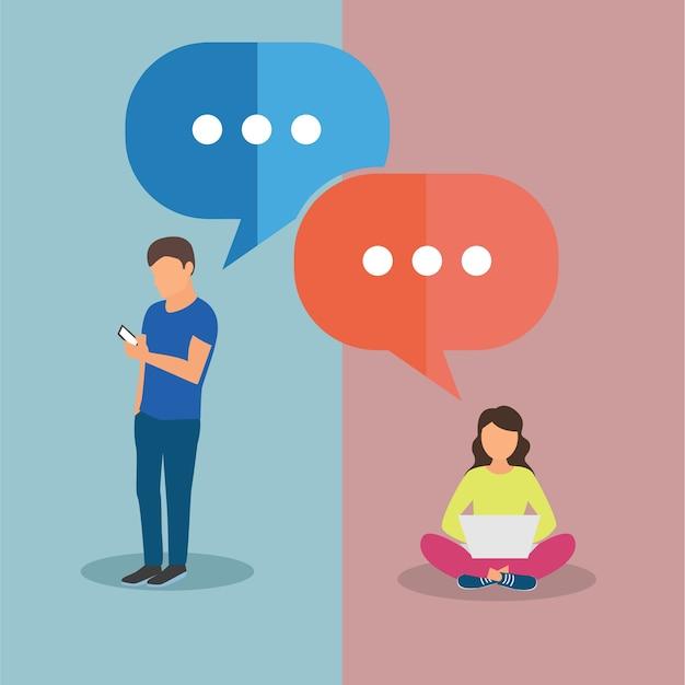 Conexiones de mensajes de texto. hombre y mujer charlando. ilustración vectorial en diseño plano con burbujas de discurso Vector Premium