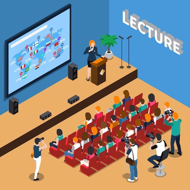 Conferencia ilustración isométrica vector gratuito