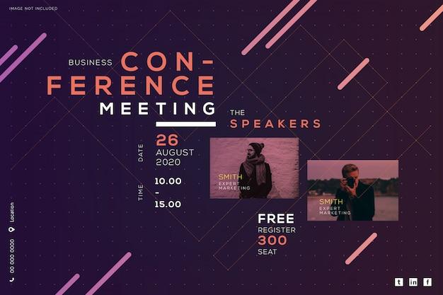 Conferencia de negocios reunión corporativa, diseño creativo. Vector Premium