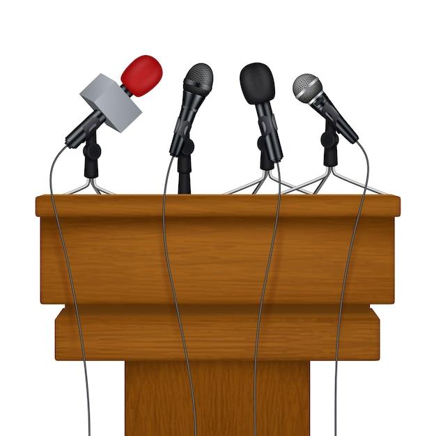 Conferencia de prensa. encuentro noticias medios micrófonos imágenes realistas Vector Premium