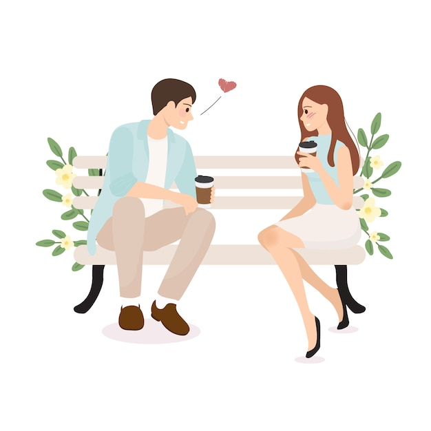 Confesión de pareja joven teniendo café boda o concepto de día de san valentín Vector Premium