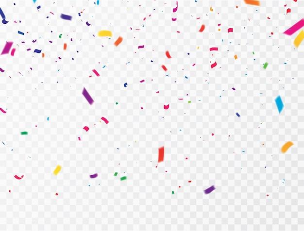 Confeti de celebración cintas de colores. tarjeta de felicitación de lujo rica. Vector Premium