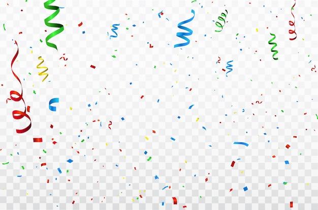 Confeti de colores cintas de carnaval de celebración. Vector Premium