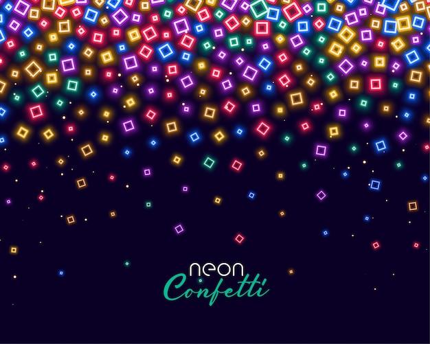 Confeti de colores en luces brillantes de neón vector gratuito