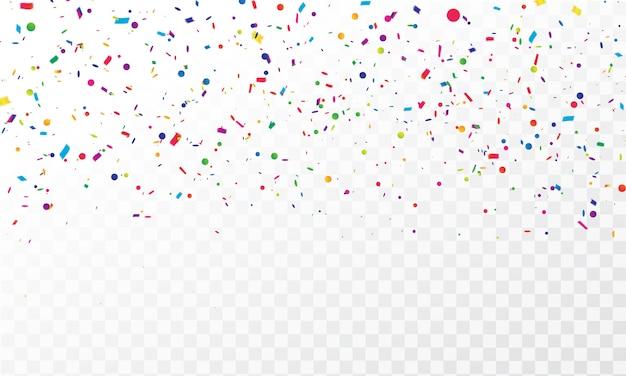 Confeti colorido celebración cintas de carnaval. Vector Premium