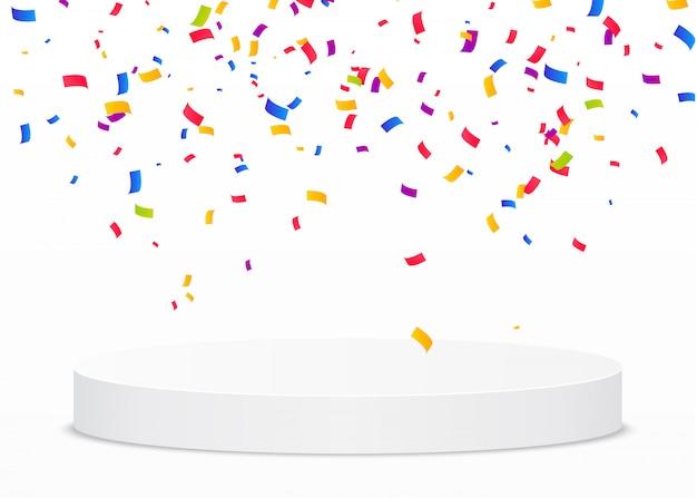 Confeti multicolor cae sobre un podio redondo blanco. concepto de victoria o ganador. Vector Premium