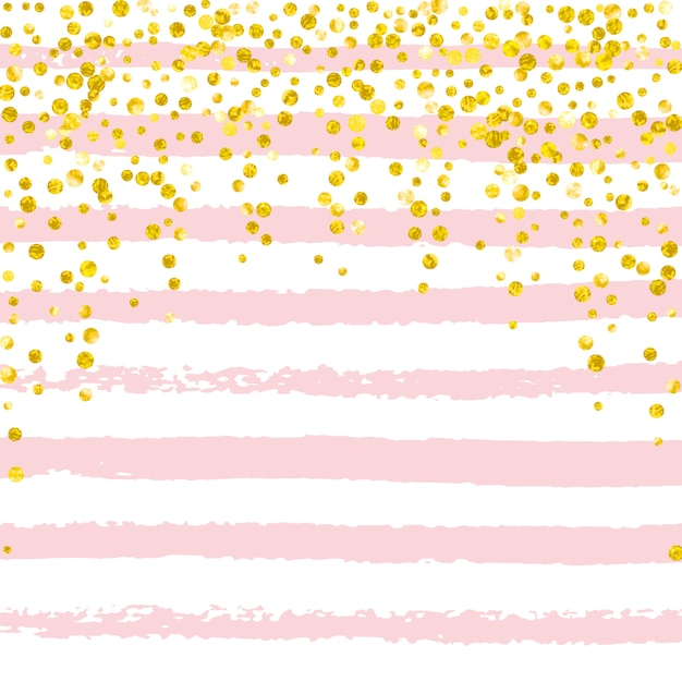 Confeti de purpurina dorada con puntos Vector Premium