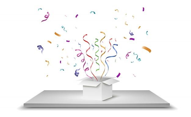 El confeti sale volando de la caja. sorpresa ilustración Vector Premium