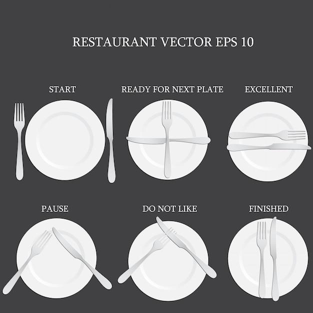 Configuración de lugar con plato, cuchillo y tenedor. Vector Premium