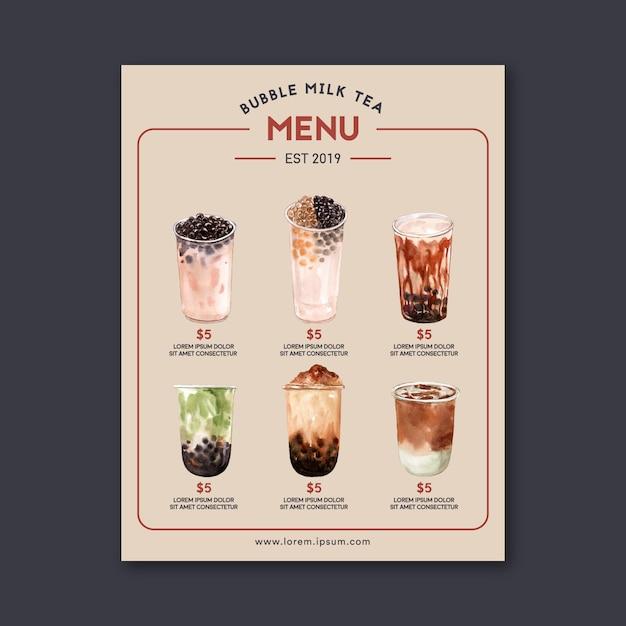 Configure el menú de té y matcha de la leche de la burbuja del azúcar marrón, cosecha de contenido del anuncio, ilustración acuarela vector gratuito