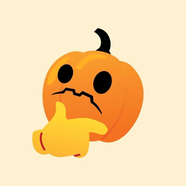 Confundido calabaza reaccionar emoji icono vector de halloween Vector Premium