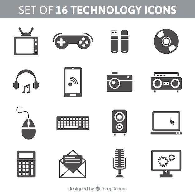 Conjunto de 16 iconos de la tecnología vector gratuito