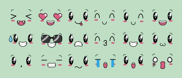 Conjunto de 18 diseños de expresiones kawaii vector gratuito