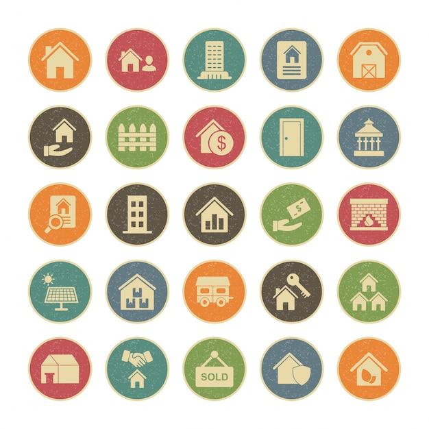 Conjunto de 25 iconos de bienes raíces Vector Premium