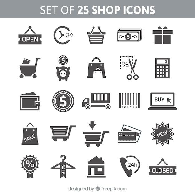Conjunto de 25 iconos de compras Vector Premium