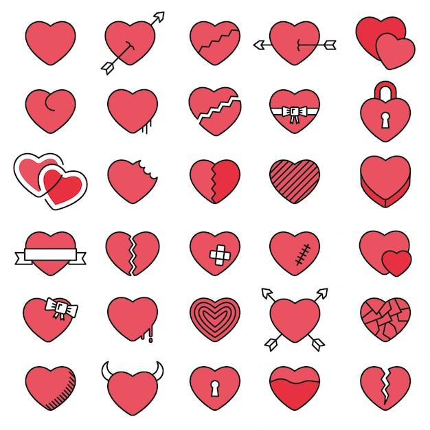 Conjunto de 30 iconos simples corazones para el día de san valentín Vector Premium