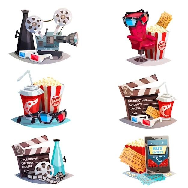Conjunto de 3d conceptos de diseño de cine de dibujos animados vector gratuito